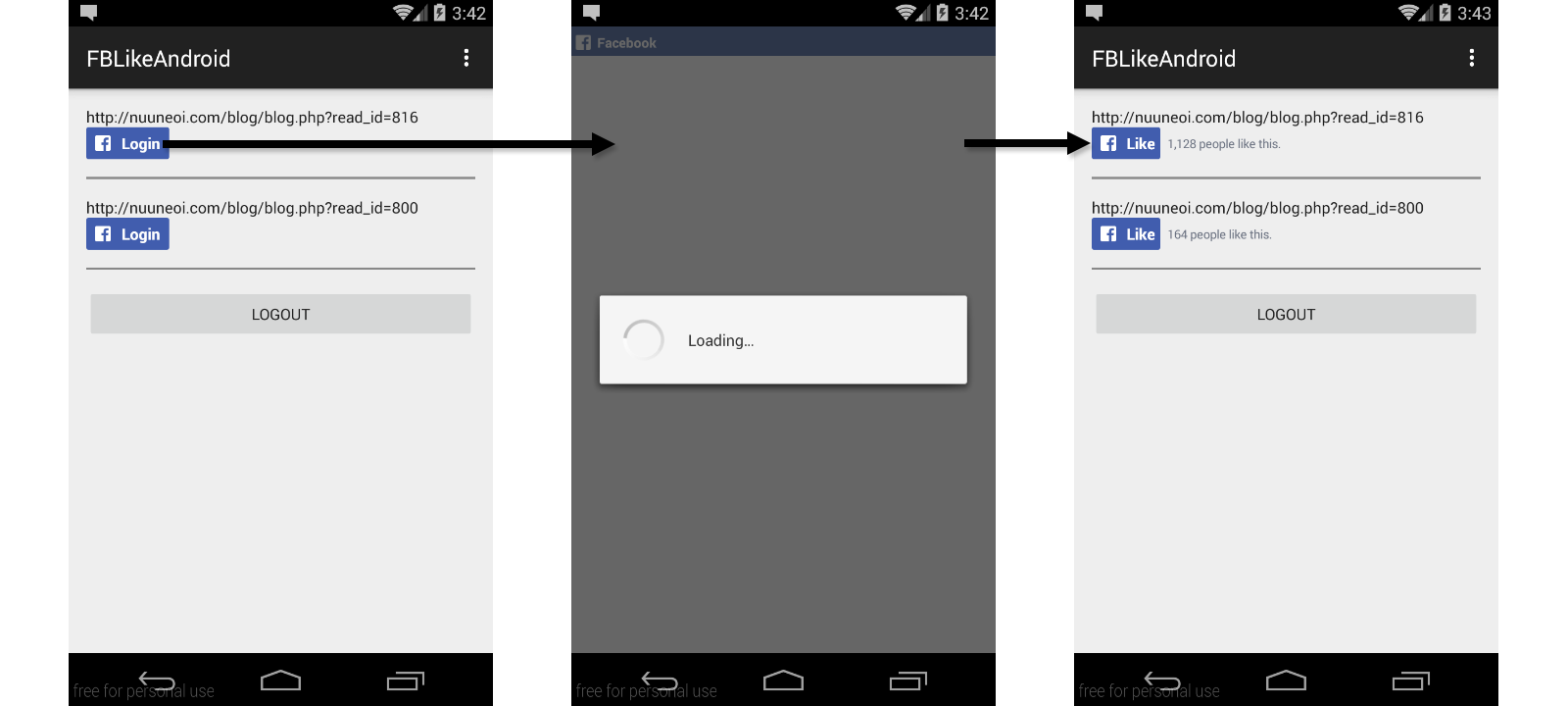 How to add a Native Facebook Like Button to your Android app using